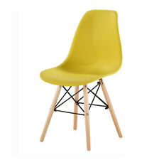 Eames Inspired DSW Dining Chairs With Wooden Legs Eiffel Retro Lounge Lia Yellow 4