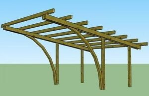 Carport in legno 5x4 h.2,70 copertura per auto gazebo in pino impregnato