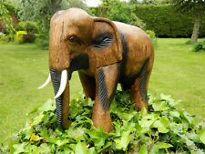 Wooden Elephant Carving - Walking Elephant H28cm