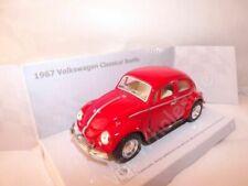 """1967 Volkswagen Beetle Red Die Cast Metal Model Car 5"""" New In Box"""