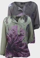 Damenshirt Shirt Damen Bluse 2 Lagen M und L  2 Farben Blume NEU