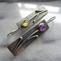Vintage Amethyst Topaz Floral Dangle Hook Earrings 925 Silver Bohemia Jewelry