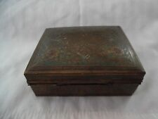 Vintage Brass Engraved Wood Lined Cigarette Trinket Box Made in India