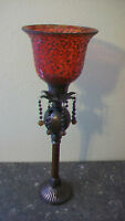 VINTAGE RED COLORED GLASS AND METAL CANDLE HOLDER, FROM INDIA