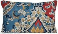 Blue Red Cushion Cover Osborne & Little Oriental Linen Fabric Berber Printed