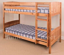 CONTEMPORARY ANTIQUE PINE BUNK BED + 2 X MATTRESSES, SPLITS INTO 2 SINGLE BEDS