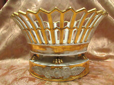 antica coppa banette porcellana di parigi bianca dorata openwork 19 ° impero