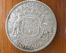 1942 Australian Silver TWO Shilling Florin (TWO BOB) KING GEORGE VI  (very Nice)