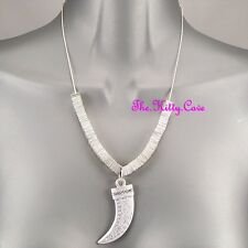 Silver Greek Key Tribal Horn Claw Tusk Fang Safari Necklace w/ Swarovski Crystal