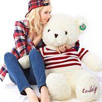 "100cm(39"")  Giant  BIG WHITE TEDDY BEAR STUFFED ANIMAL PLUSH SOFT TOY GIFT"