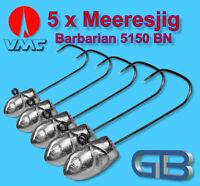 5 x Meeresjig Dorschbombe 25g Jig Bleikopf VMC Barbarian 5150 BN 5/0.