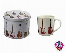 CLASSIC GUITARS ROCK AND ROLL COFFEE MUG  CUP NEW IN PRESENTATION GIFT TIN