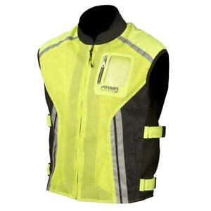ARMR Moto High Visibility Reflective Motorcycle Vest Hi Viz Waist Coat Yellow