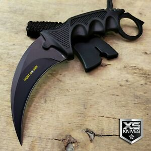 TACTICAL HUNTING KARAMBIT NECK KNIFE Combat Survival Fixed Blade BOWIE w/ Sheath