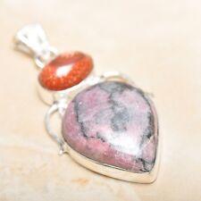"Handmade Pink Rhodochrosite Gemstone 925 Sterling Silver Pendant 2.25"" #P14442"