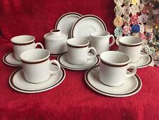 15 Pc Set Norwell Stoneware Creamer Sugar Bowl & Lid Saucers Teacups Tan Brown
