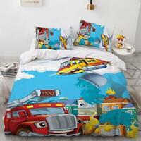 3D Fire Truck ZHUA1370 Bed Pillowcases Quilt Duvet Cover Set Queen King Zoe