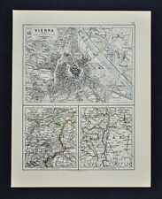 1895 Johnston Map - Vienna Austria & Budapest Hungary City Plans Environs Europe
