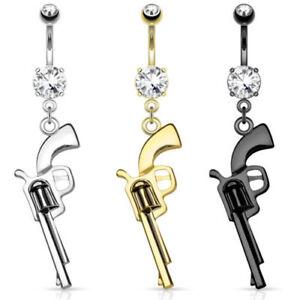 Gun Dangle Belly Ring CZ Gem Pierced Navel Stainless Steel, IP Gold, Hematite