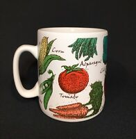 Extra Large Ceramic Soup Mug / White with Vegtables / 26 oz