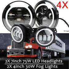 Round 150W Total LED Headlights Hi/Lo For Freightliner Century Class & Fog Light