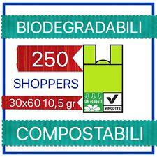 250 SACCHETTI GRANDI CON MANICI BIODEGRADABILI E COMPOSTABILI 30+18x60 GR 10.5