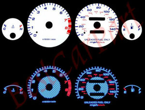 WHITE 94-01 Acura Integra RS/GS/LS MT BLUE INDIGLO GLOW Reverse GAUGES