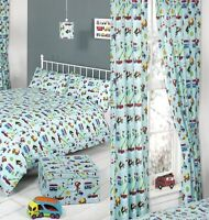 """CHILDREN BOYS TRAFFIC CARS SINGLE BED QUILT COVER SET AND 66""""X72"""" DROP CURTAINS"""