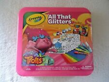 "Crayola "" NIP "" All That Glitters Trolls Coloring & Paint Kit In Plastic Case"