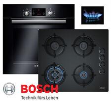 Gasherd Einbau BOSCH Autark Elektro Backofen Schwarz + GAS Glaskeramik Kochfeld
