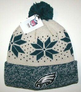 Nwt New Philadelphia Eagles Hat Snowflakes Logo Football Beanie Cap Cuff Women