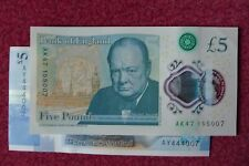 NEW POLYMER £5 FIVE POUND NOTES, ENGLISH & SCOTTISH JAMES BOND 007 & AK47