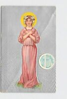 PPC POSTCARD MERRY CHRISTMAS GIRL HALO ART NOUVEAU SILVER EMBOSSED