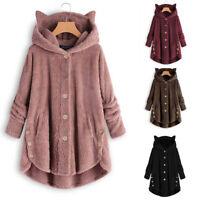 Women Cat Fluffy Coat Overcoat Button Jacket Top Outwear Sweater Overcoat CE