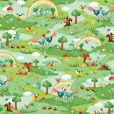 Fabric Birds Woodland Animals Rainbows on Green Cotton 1 Yard