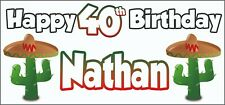 Mexican Cactus 40th Birthday Banner x2 - Party Decorations Personalised ANY NAME