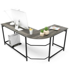 Modern L Shaped Corner Desk Laptop Study Writing Table Workstation Home Office