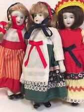 "Lot of 3 International Dressed Dolls 7"" Unknown Maker"