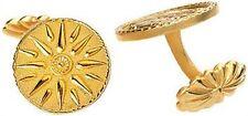 "Macedonian Star Cufflinks 24 Karat Gold Plated 0.85"" Diameter - Museum Jewelry"