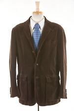 Hommes Polo Ralph Lauren Velours Manteau L en Marron Chocolat Coton Demi Norfolk