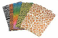 15 Sheets A4 Animal Print Card + Leopard Zebra Lizard Giraffe Shapes Art Craft