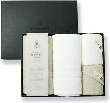 New listing Imabari Towel Bath and Face Towel 2 pieces each Light Gray x White Made in Japan