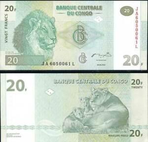 Congo 20 Francs 2003 P 94 HDM UNC LOT 5 PCS