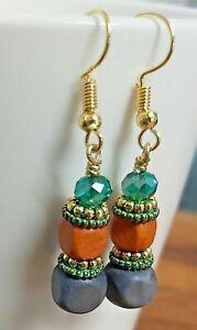 Grey, Orange Bead & Green Crystal Gold Tone Drop Earrings - *NEW*