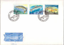 Nice FDC Liechtenstein Full serie 3 stamps 1989 River Fish First Day Cover
