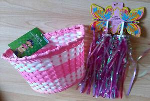 Childrens Kids Junior Cycle Bike Front Oxford Pink Basket + Streamers