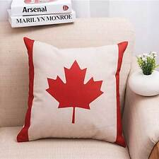 Canada red Maple leaves Flag Cotton Linen Throw Pillow Case Cushion Cover