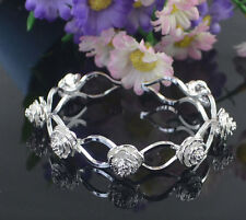 Beautiful 925 Sterling Silver Plated Rose Charm Bangle Cuff Bracelet Hot Sale
