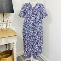 Vintage Givoni Womens Nightie Night Dress Floral Pink Green fit Size 10 - 12