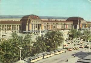 Postcard Germany Messestadt Leipzig Grand central station 1967 tram